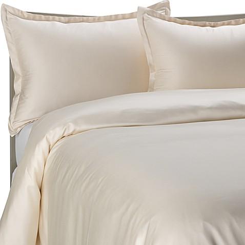 Pure Beech 174 Modal Sateen Duvet Cover Set In Cream Bed