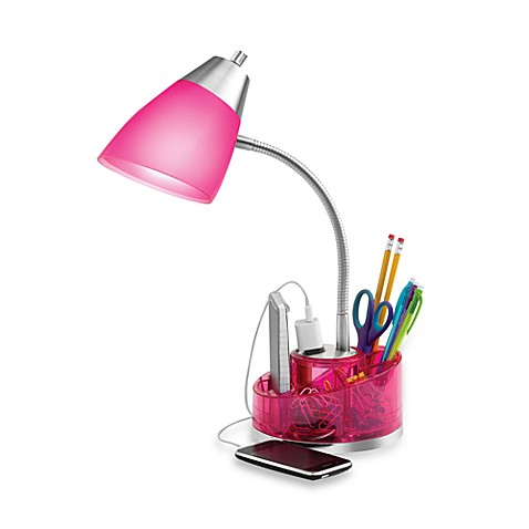Equip Your Space Organizer Desk Lamp in Pink