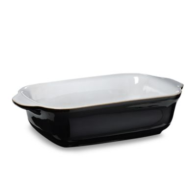 Denby Jet 0.4-Liter Small Oblong Dish in Black/White