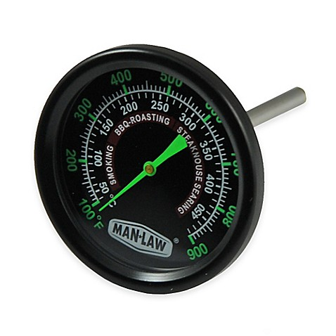Man Law BBQ Grill/Smoker Thermometer Gauge with Glow in the Dark Dial