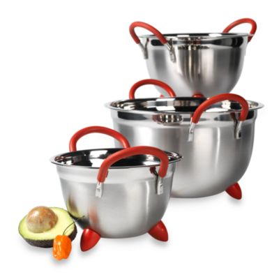 Philippe Richard® Stainless Steel Mixing Bowls with Silicone Handles & Feet (Set of 3)