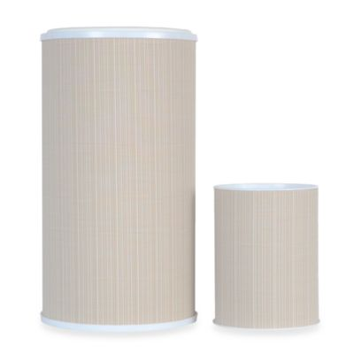 Lamont Home™ Raine Round Hamper & Waste Basket Set in White/Ivory
