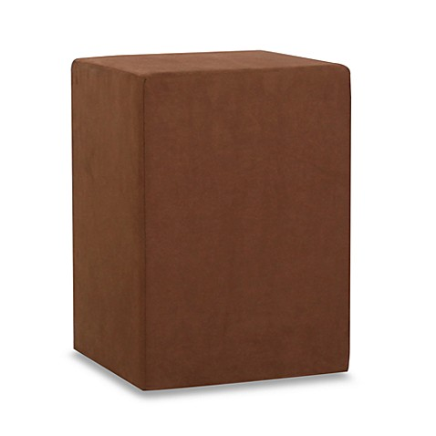 Howard Elliott® No Tip Block Tall Ottoman in Microsuede Chocolate