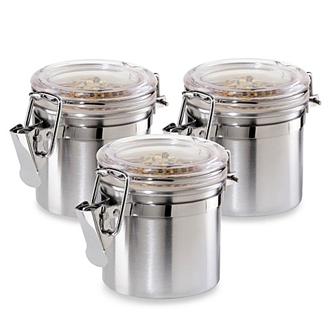 oggi stainless steel airtight mini canister set of 3 bed bath beyond. Black Bedroom Furniture Sets. Home Design Ideas