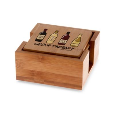 Thirstystone® Group Therapy Bamboo Coasters with Holder