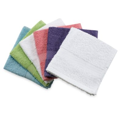 Lasting Color 6-Pack Assorted 100% Cotton Washcloth Set