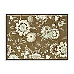 Halton Collection Chenille Floral Decorative Rugs in Light Brown/Beige