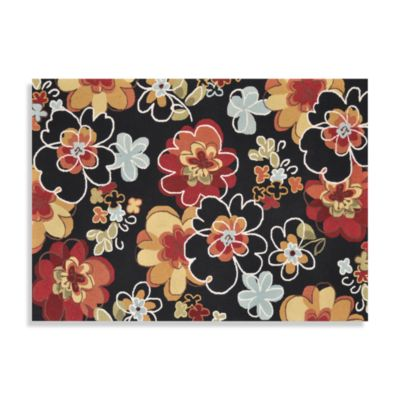 Loloi Rugs Juliana Collection 2-Foot 3-Inch x 3-Foot 9-Inch Handcrafted Floral Rug in Black/Multi