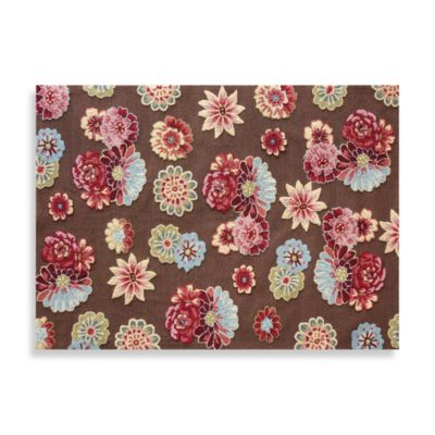 Juliana Collection Handcrafted Decorative Rugs in Brown Floral