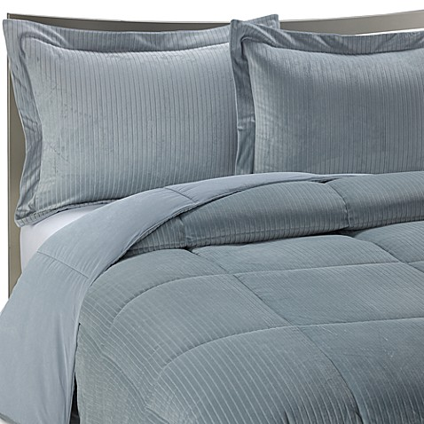 Luxe Stripe Reversible Down-Alternative Bedding Set in Slate Blue