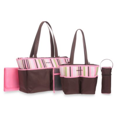 Carter's® 5-Piece Diaper Bag Set in Brown/Pink