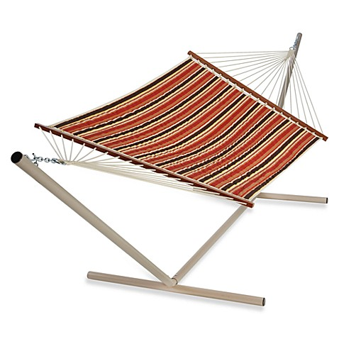 Pawleys Island Large Polyester Quilted Hammock - Brown/Orange