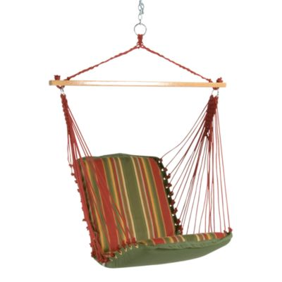 Pawleys Island Single Cushioned Swing in Red/Green