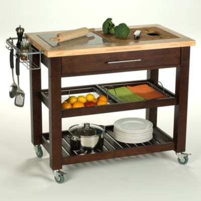 "Chris & Chris Pro Chef 40"" Kitchen Rolling Work Station in Espresso"
