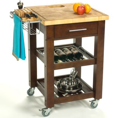Chris & Chris Pro Chef 24-Inch Rolling Kitchen Work Station in Espresso