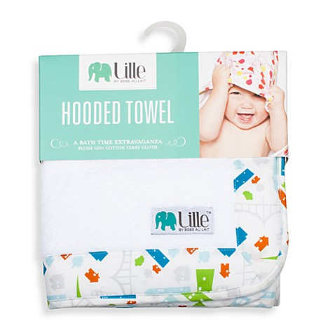 Bebe au Lait® Lille™ Boy Cityscape Hooded Towel