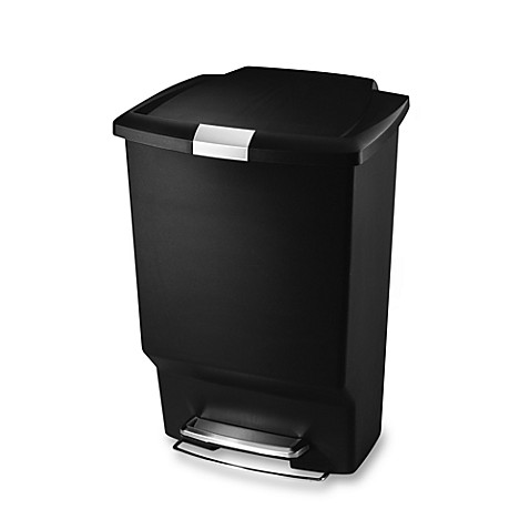 buy simplehuman plastic rectangular 45 liter step on trash can in black from bed bath beyond. Black Bedroom Furniture Sets. Home Design Ideas