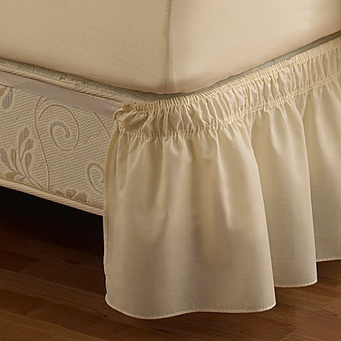 Buy ruffled queen king solid adjustable bed skirt in ivory from bed