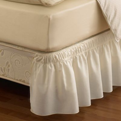 Ruffled Solid Adjustable Bed Skirt in Twin/Full in Ivory