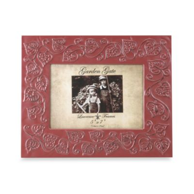 Fred M. Lawrence Garden Gate 5-Inch x 7-Inch Metal Picture Frame in Red Floral