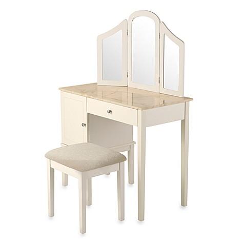 linon home darlington vanity and bench set bed bath beyond