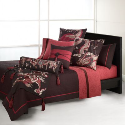 Natori Dynasty Imperial King Duvet Cover in Red/Brown