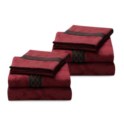 Natori Dynasty Imperial California King Fitted Sheet in Red
