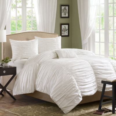 Madison Park Delancey 4-Piece King Comforter Set in White