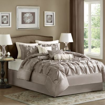 Madison Park Laurel Taupe 7-Piece Comforter Set - Queen
