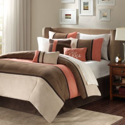 Madison Park Palisades Coral/Natural 7-Piece Kiing Comforter Set in Coral/Natural