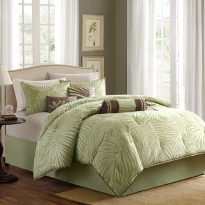 Madison Park Freeport Jacquard Sage 7-Piece California King Comforter Set