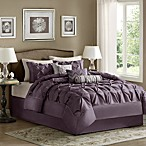 Madison Park Laurel Pieced Plum 7-Piece Bedding Set