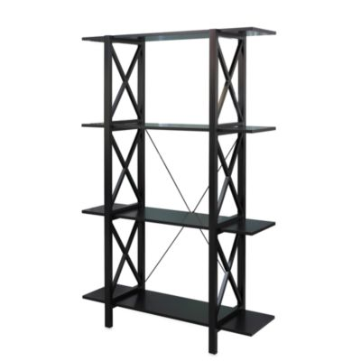 Linon Home Emily Double Bookcase in Black