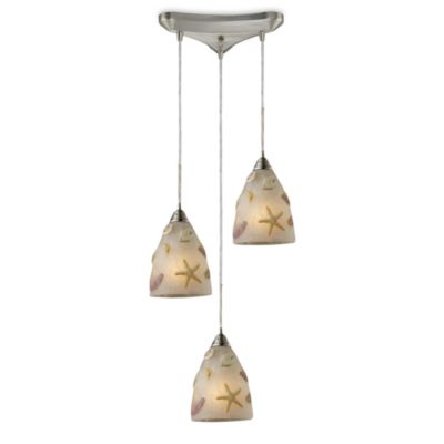 ELK Lighting Seashore 3-Light Pendant in Satin Nickel
