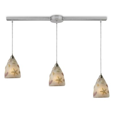 ELK Lighting Seashore Linear 3-Light Pendant in Satin Nickel