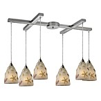 ELK Lighting Seashore 6-Light Pendant in Satin Nickel