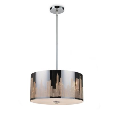 ELK Lighting Skyline 3-Light Pendant in Polished Stainless Steel