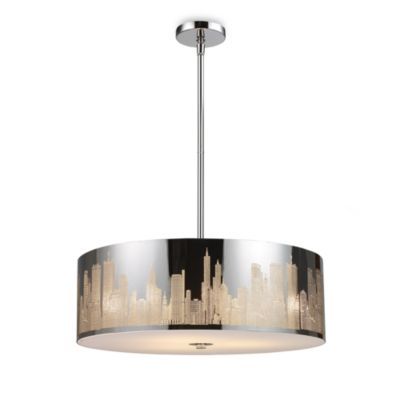 ELK Lighting Skyline 5-Light Pendant in Polished Stainless Steel