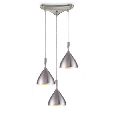 ELK Lighting Spun Aluminum 3-Light Pendant in Aluminum