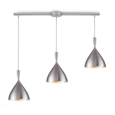 ELK Lighting Spun Aluminum 3-Light Linear Pendant in Aluminum