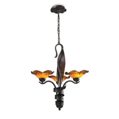 ELK Lighting Villa 3-Light Chandelier in Rust/Amber