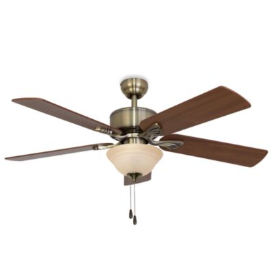 52-Inch Northbrook Aged Brass Ceiling Fan with Frosted Amber Glass