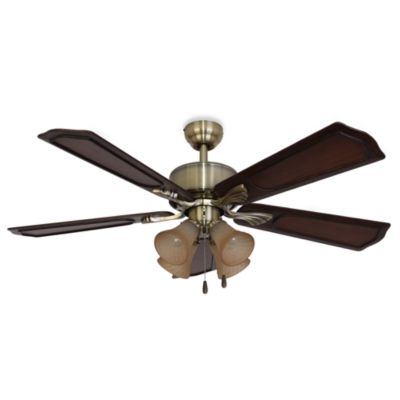 52 4-Light Aged Brass Ceiling Fan