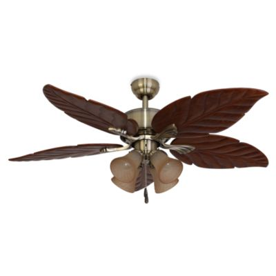 52-Inch Tortuga 4-Light Aged Brass Ceiling Fan