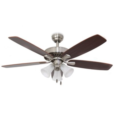 52-Inch Barclay 3-Light Brushed Nickel Ceiling Fan