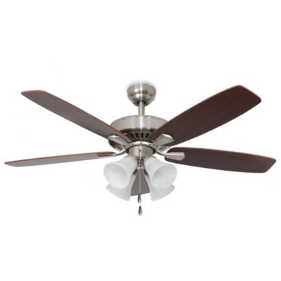 52-Inch Barclay 4-Light Brushed Nickel Ceiling Fan