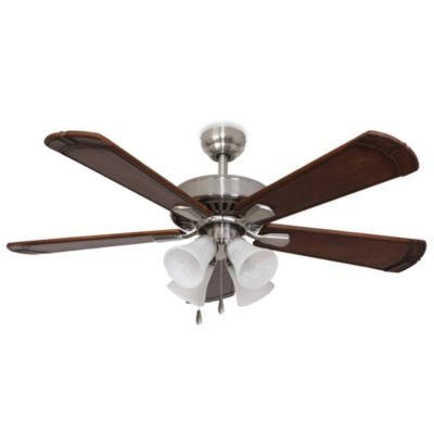 52-Inch Marston 4-Light Brushed Nickel Ceiling Fan