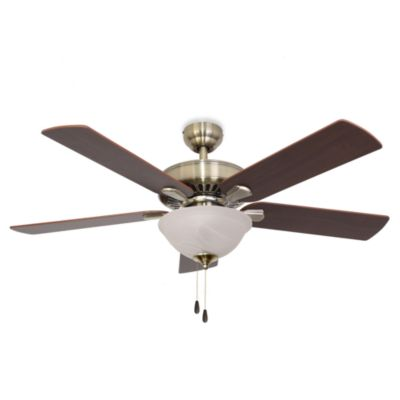 52-Inch Cordova Bowl Light Aged Brass Ceiling Fan