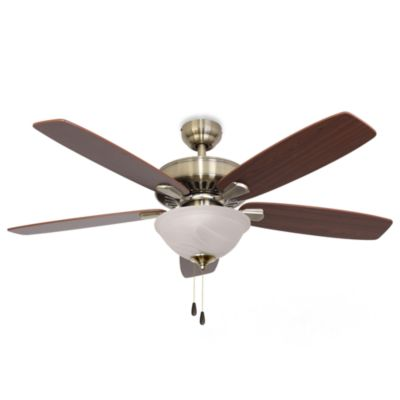 52-Inch Barclay Bowl Light Aged Brass Ceiling Fan