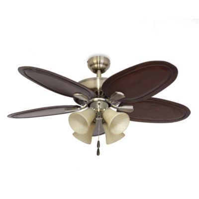 52-Inch Calais 4-Light Aged Brass Ceiling Fan